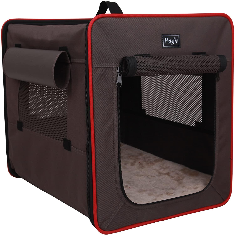 Petsfit - Transportín para mascotas de tela ligera, portátil y plegable, sirve como caseta suave para el perro con alfombrilla de forro polar grueso y suave, color gris